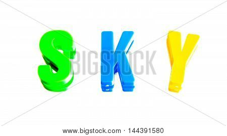 word sky from plastic letters on a white background