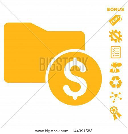 Money Folder icon with bonus pictograms. Vector illustration style is flat iconic symbols, yellow color, white background, rounded angles.