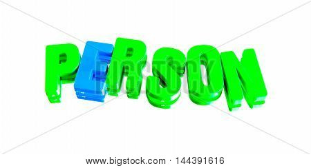 word person from plastic letters on a white background