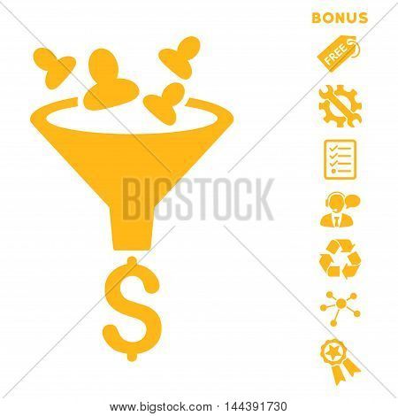 Sales Funnel icon with bonus pictograms. Vector illustration style is flat iconic symbols, yellow color, white background, rounded angles.