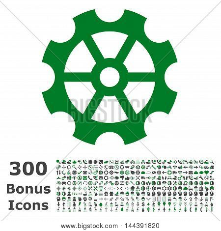 Gear icon with 300 bonus icons. Vector illustration style is flat iconic bicolor symbols, green and gray colors, white background.