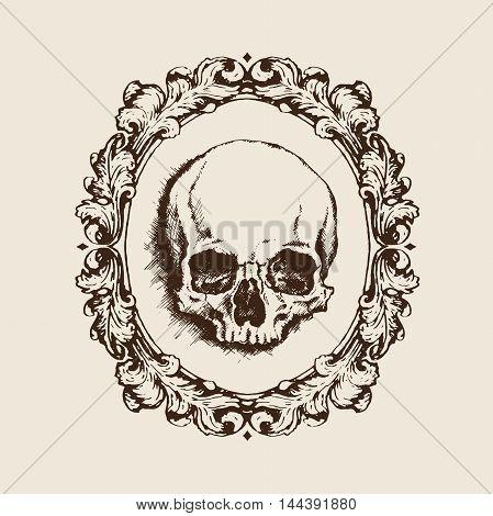 Hand-drawn human skull in oval filigree frame. Vanitas vector illustration