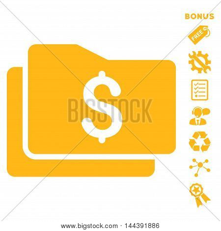 Wallet icon with bonus pictograms. Vector illustration style is flat iconic symbols, yellow color, white background, rounded angles.