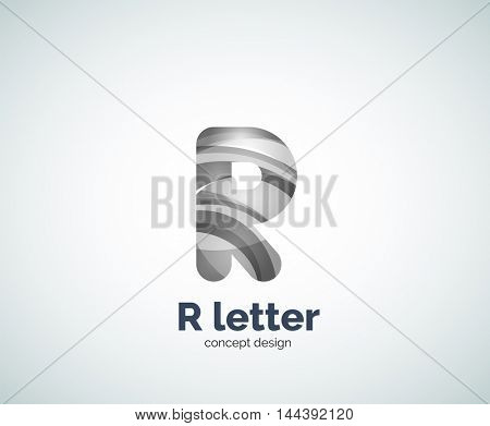 Vector R letter business logo, modern abstract geometric elegant design. Created with waves