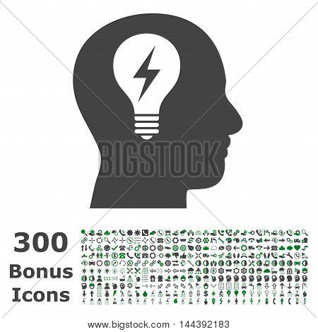 Head Bulb icon with 300 bonus icons. Vector illustration style is flat iconic bicolor symbols, green and gray colors, white background.