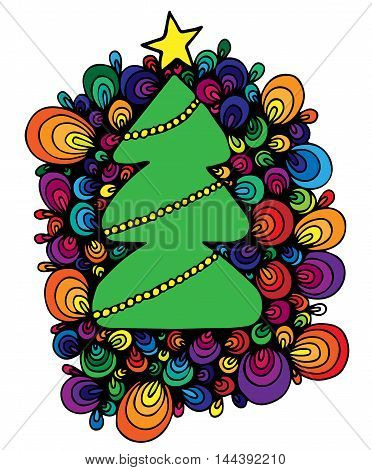 Abstract colorful New Year tree with star and garland isolated on the white background