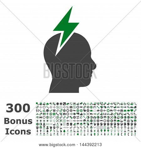 Headache icon with 300 bonus icons. Vector illustration style is flat iconic bicolor symbols, green and gray colors, white background.
