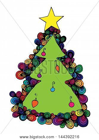 Abstract New Year tree colorful with star isolated on the white background