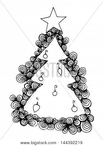 Abstract New Year tree with star isolated on the white background