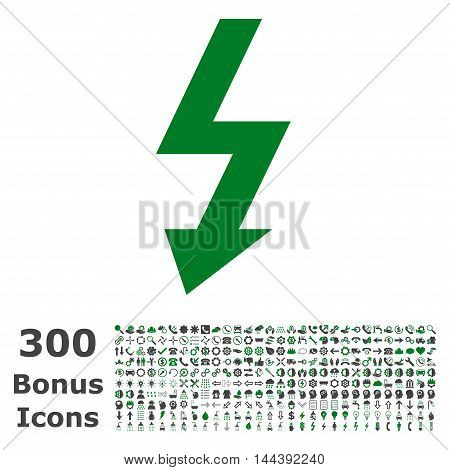 High Voltage icon with 300 bonus icons. Vector illustration style is flat iconic bicolor symbols, green and gray colors, white background.