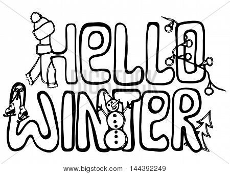 Hello winter card lettering isolated on the white background