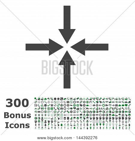 Impact Arrows icon with 300 bonus icons. Vector illustration style is flat iconic bicolor symbols, green and gray colors, white background.