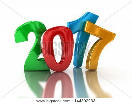 3D Illustration. New Year 2017. Image with clipping path.
