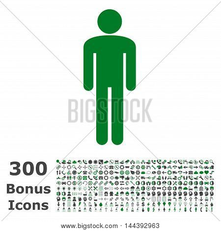 Man icon with 300 bonus icons. Vector illustration style is flat iconic bicolor symbols, green and gray colors, white background.