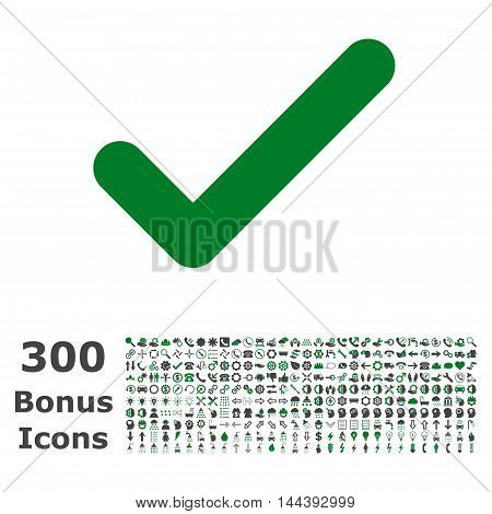 Ok icon with 300 bonus icons. Vector illustration style is flat iconic bicolor symbols, green and gray colors, white background.