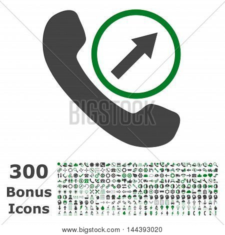 Outgoing Call icon with 300 bonus icons. Vector illustration style is flat iconic bicolor symbols, green and gray colors, white background.
