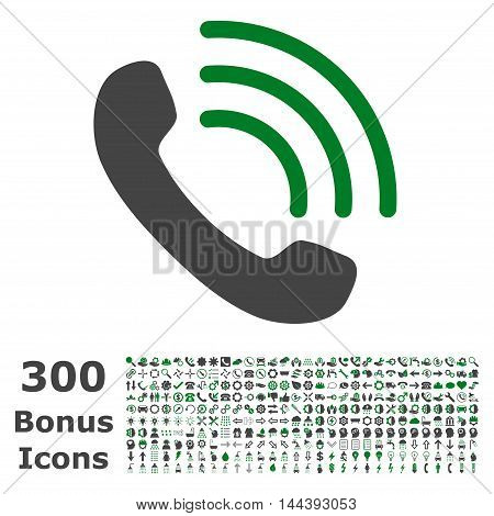 Phone Call icon with 300 bonus icons. Vector illustration style is flat iconic bicolor symbols, green and gray colors, white background.