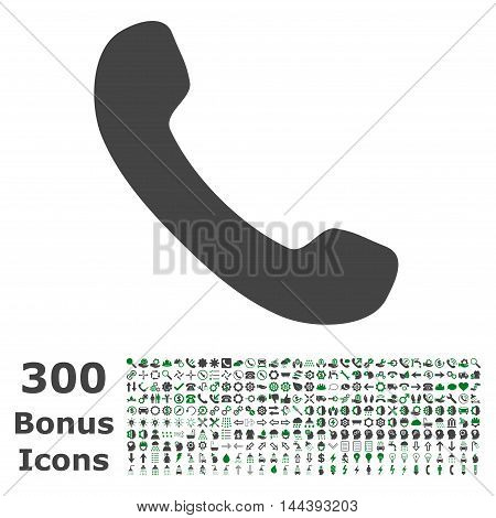 Phone Receiver icon with 300 bonus icons. Vector illustration style is flat iconic bicolor symbols, green and gray colors, white background.