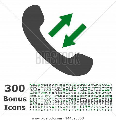 Phone Talking icon with 300 bonus icons. Vector illustration style is flat iconic bicolor symbols, green and gray colors, white background.
