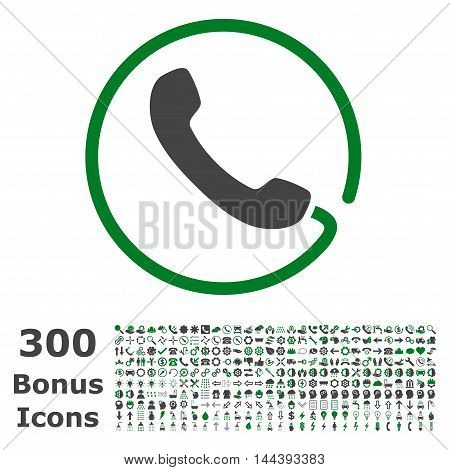 Phone icon with 300 bonus icons. Vector illustration style is flat iconic bicolor symbols, green and gray colors, white background.