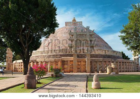 Ancient Buddhist Stupa in Sanchi Madhya Pradesh India.