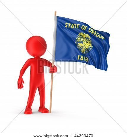 3D Illustration. Man and flag of the US state of Oregon Image with clipping path