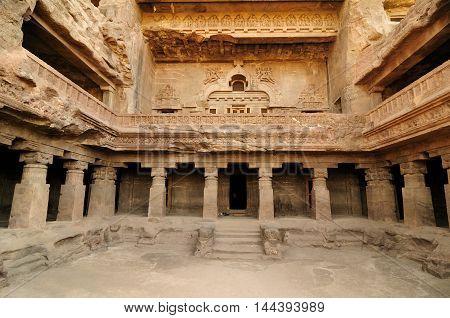 View of ancient Buddhist cave temples at Ellora Maharashtra India (Unesco)