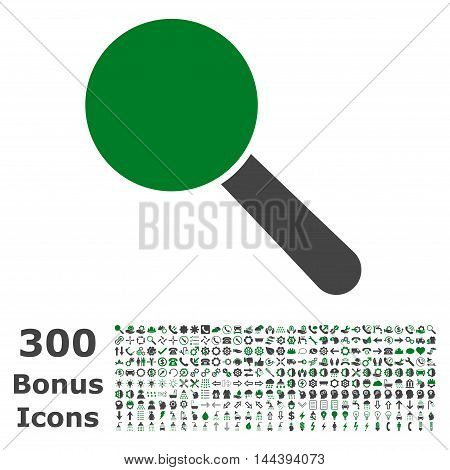 Search Tool icon with 300 bonus icons. Vector illustration style is flat iconic bicolor symbols, green and gray colors, white background.