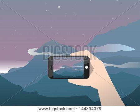 Vector illustration travel photo of sunset and beach on smartphone. Hand with phone