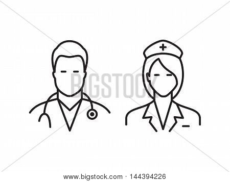Medical line icons. Doctor and nurse avatars