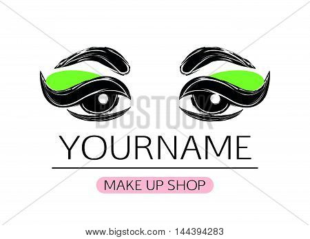 Black and white logotype of woman eyes with eyeliner and green eyeshadow on scratched texture effect.