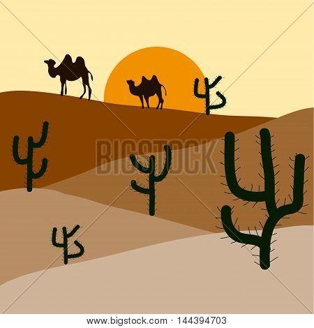 Silhouette of blooming cactuses and western desert on the background of light yellow sky.