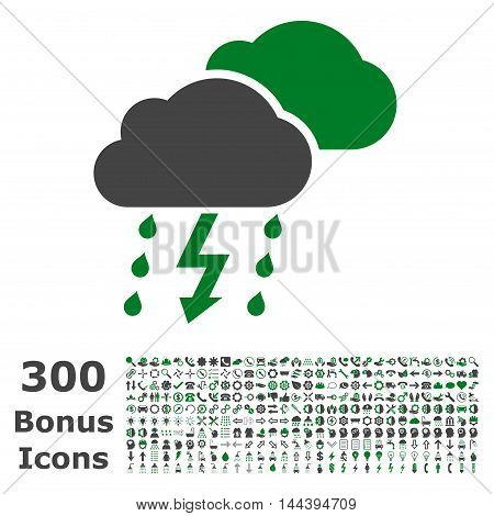 Thunderstorm icon with 300 bonus icons. Vector illustration style is flat iconic bicolor symbols, green and gray colors, white background.