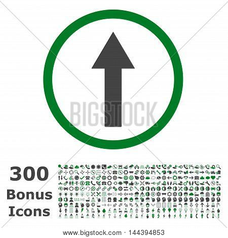 Up Rounded Arrow icon with 300 bonus icons. Vector illustration style is flat iconic bicolor symbols, green and gray colors, white background.