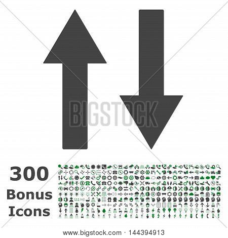 Vertical Flip Arrows icon with 300 bonus icons. Vector illustration style is flat iconic bicolor symbols, green and gray colors, white background.