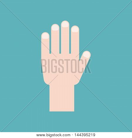 Vector hand icon, flat design on cyan background