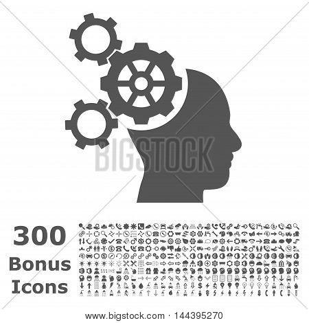 Brain Mechanics icon with 300 bonus icons. Vector illustration style is flat iconic symbols, gray color, white background.