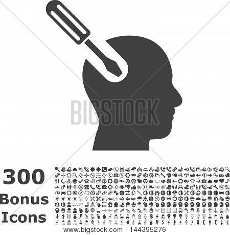 Brain Tool icon with 300 bonus icons. Vector illustration style is flat iconic symbols, gray color, white background.
