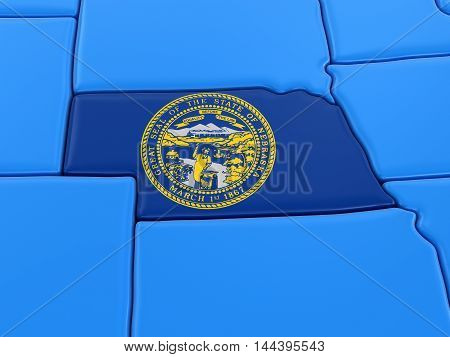 3D Illustration. Map of Nebraska state with flag