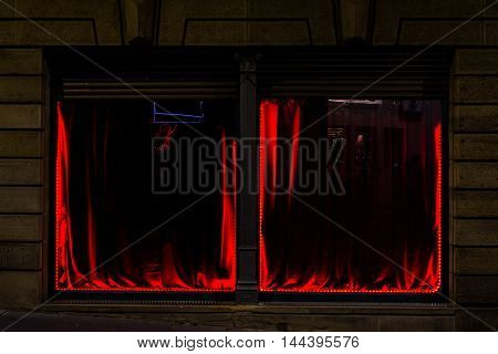 Two Dim Red Windows Geometric Perspective Double