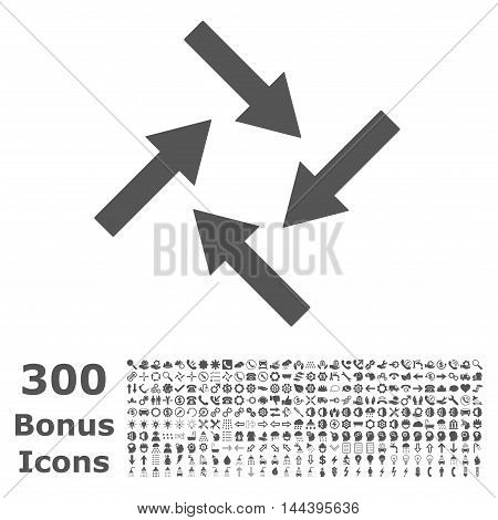 Centripetal Arrows icon with 300 bonus icons. Vector illustration style is flat iconic symbols, gray color, white background.