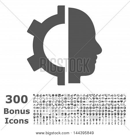 Cyborg Gear icon with 300 bonus icons. Vector illustration style is flat iconic symbols, gray color, white background.