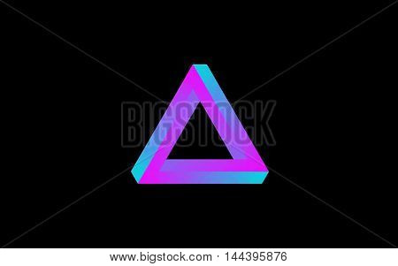 impossible triangle colorful gradient prespective geometry creative