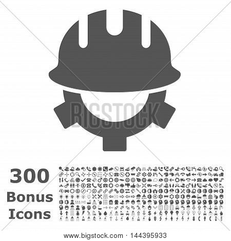 Development Helmet icon with 300 bonus icons. Vector illustration style is flat iconic symbols, gray color, white background.