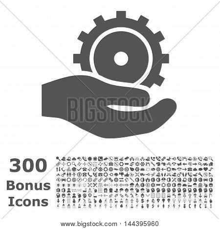 Development Service icon with 300 bonus icons. Vector illustration style is flat iconic symbols, gray color, white background.