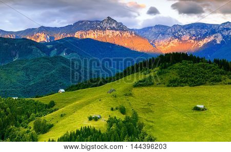 Sunset scene over Bucegi Mountains in Romania