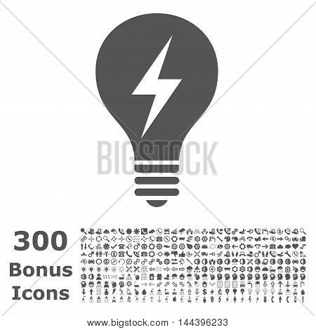 Electric Bulb icon with 300 bonus icons. Vector illustration style is flat iconic symbols, gray color, white background.