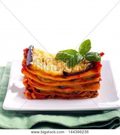 Slice of vegetarian lasagna served on plate