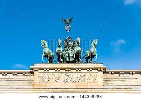 Detail of the Quadriga on top of the Brandenburger Tor in Berlin