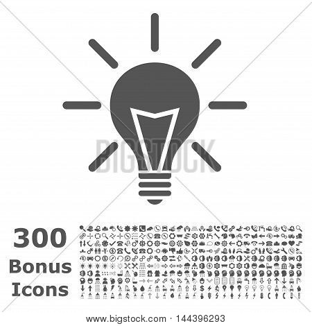 Electric Light icon with 300 bonus icons. Vector illustration style is flat iconic symbols, gray color, white background.